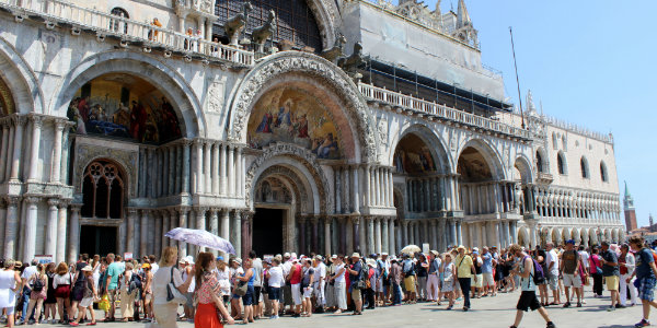 A crowd outside the Doge's Palace in Venice.